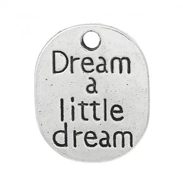"Riipus ""Dream a little dream"" 22 x 18 mm antiikkihopea, 4 kpl"