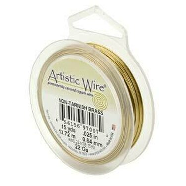 Artistic wire kuparilanka 0,64 mm (22 GA) tummumaton messinki 13,7 m puola